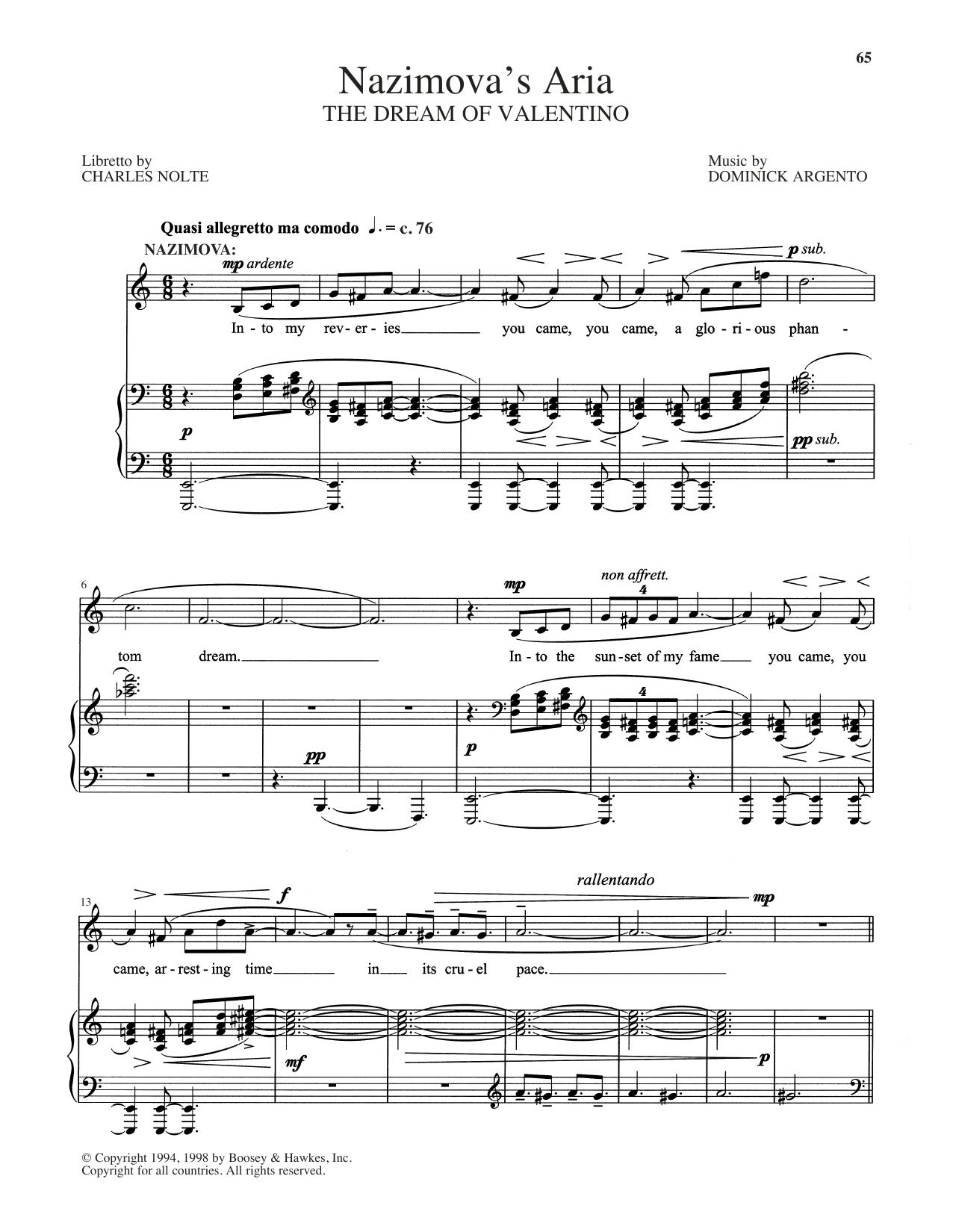 Dominick Argento 'Nazimova's Aria' Sheet Music Notes, Chords | Download  Printable Piano & Vocal - SKU: 404297