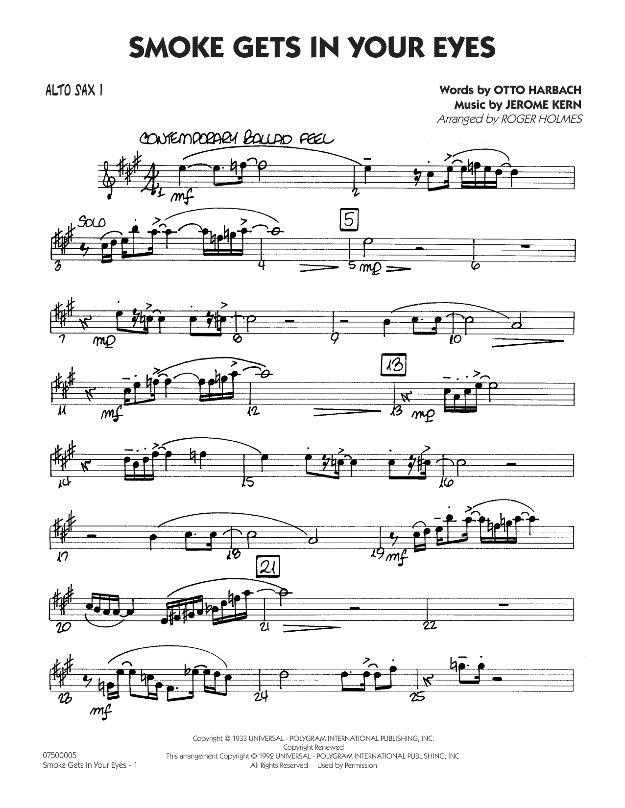 The Platters 'Smoke Gets In Your Eyes (arr  Roger Holmes) - Alto Sax 1'  Sheet Music Notes, Chords | Download Printable Jazz Ensemble - SKU: 404896