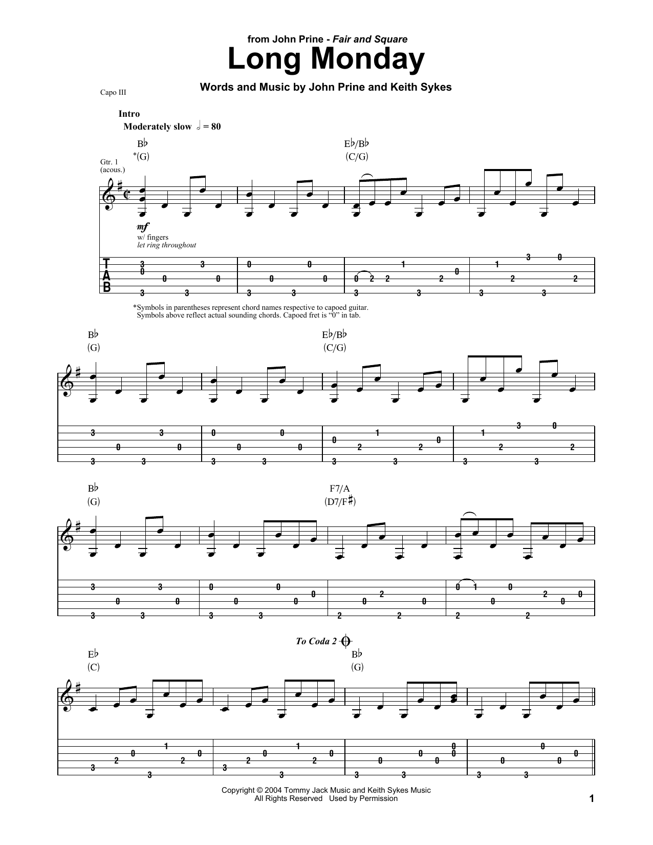 graphic regarding Printable Tablature named John Prine Extensive Monday Sheet New music Notes, Chords Down load Printable Guitar Tab Participate in-Together - SKU: 405092