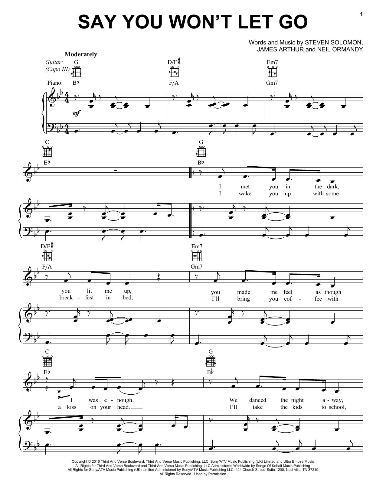 James Arthur 'Say You Won't Let Go' Sheet Music Notes, Chords | Download  Printable VPROPG - SKU: 405257