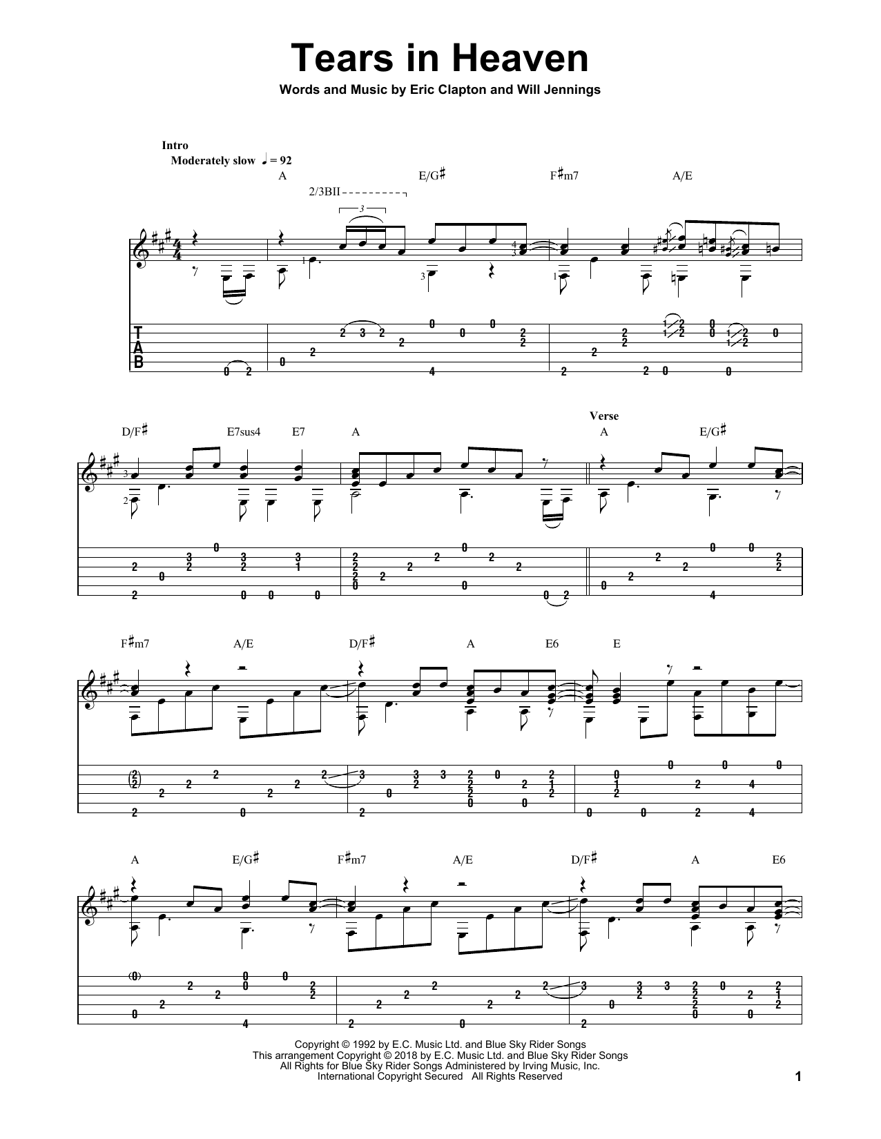 Eric Clapton 'Tears In Heaven' Sheet Music Notes, Chords | Download  Printable Solo Guitar - SKU: 405459