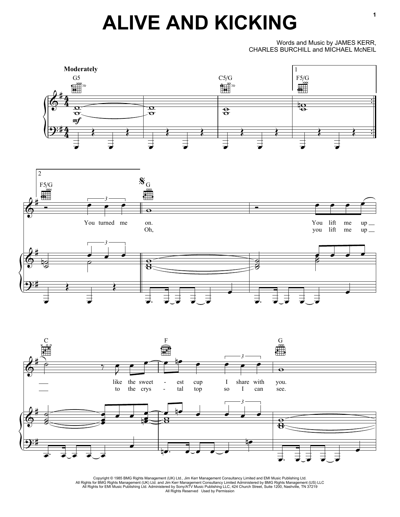 Simple Minds Alive And Kicking Sheet Music Notes Chords Download Printable Piano Vocal Guitar Right Hand Melody Sku 405524