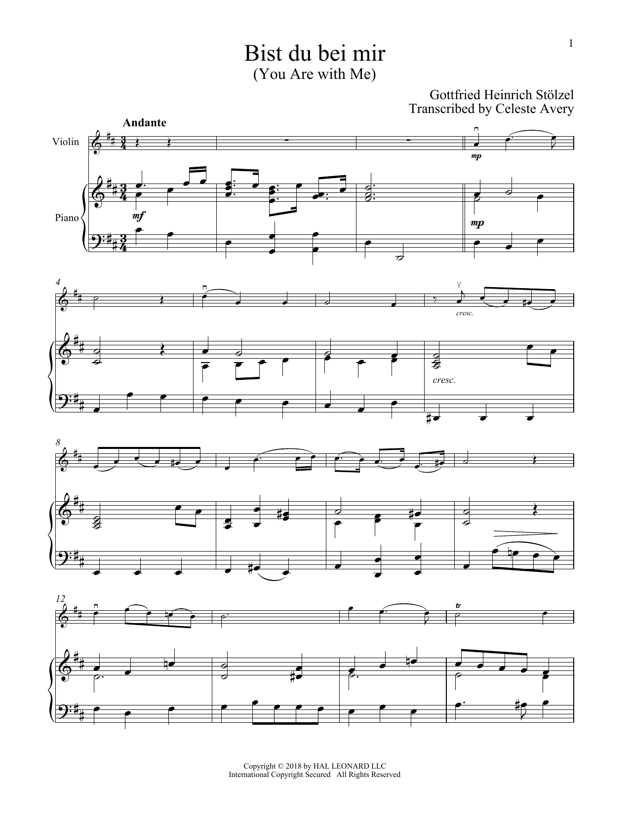 Johann Sebastian Bach 'Bist du bei mir (You Are With Me)' Sheet Music  Notes, Chords | Download Printable Violin and Piano - SKU: 407668