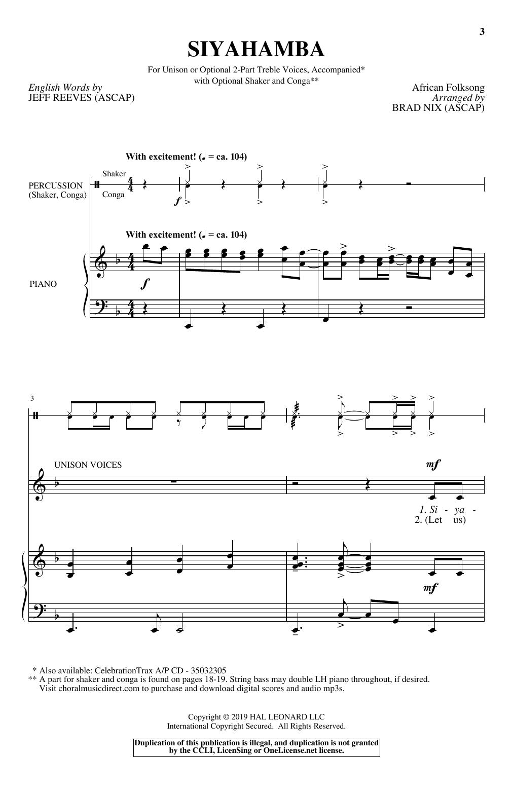 Brad Nix 'Siyahamba' Sheet Music Notes, Chords | Download Printable Choir -  SKU: 408929