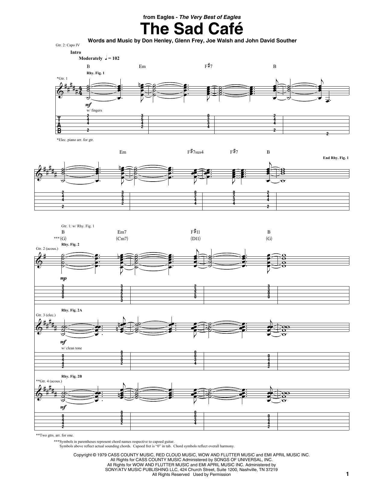 Eagles 'The Sad Cafe' Sheet Music Notes, Chords | Download Printable Guitar  Tab - SKU: 409579