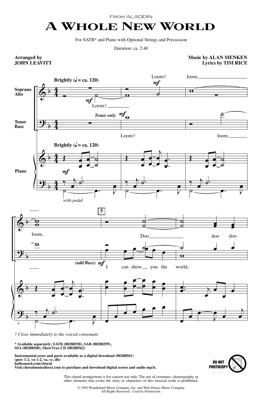 photograph about Disney Piano Sheet Music Free Printable identify Alan Menken A Full Fresh new World-wide (in opposition to Aladdin) (arr. John Leavitt) Sheet New music Notes, Chords Obtain Printable SATB Choir - SKU: 409866