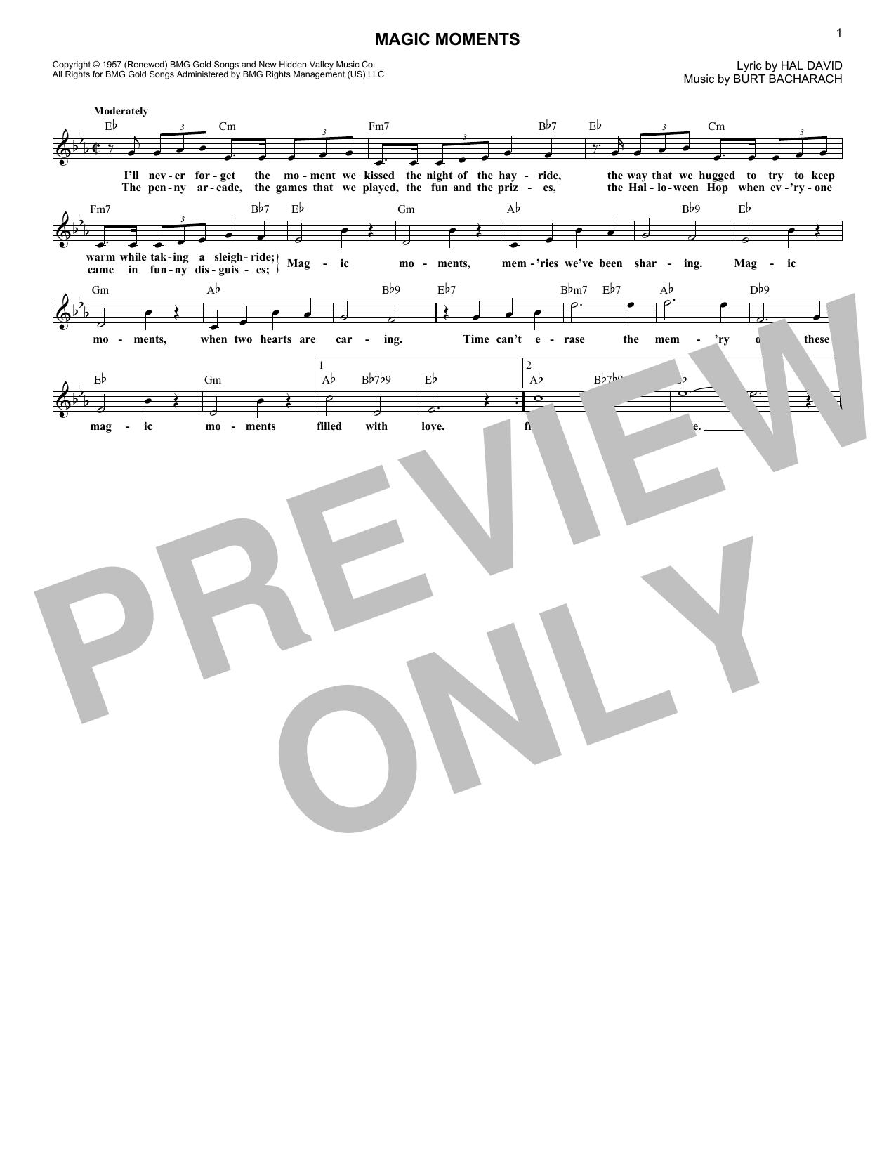 Burt Bacharach 'Magic Moments' Sheet Music Notes, Chords | Download  Printable Lead Sheet / Fake Book - SKU: 410282