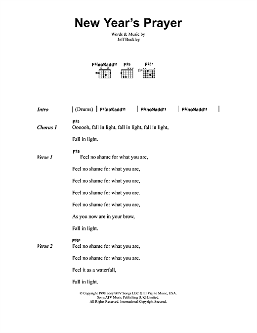 graphic about Prayer Rock Printable called Jeff Buckley Contemporary Many years Prayer Sheet Audio Notes, Chords Obtain Printable Lyrics Chords - SKU: 41370