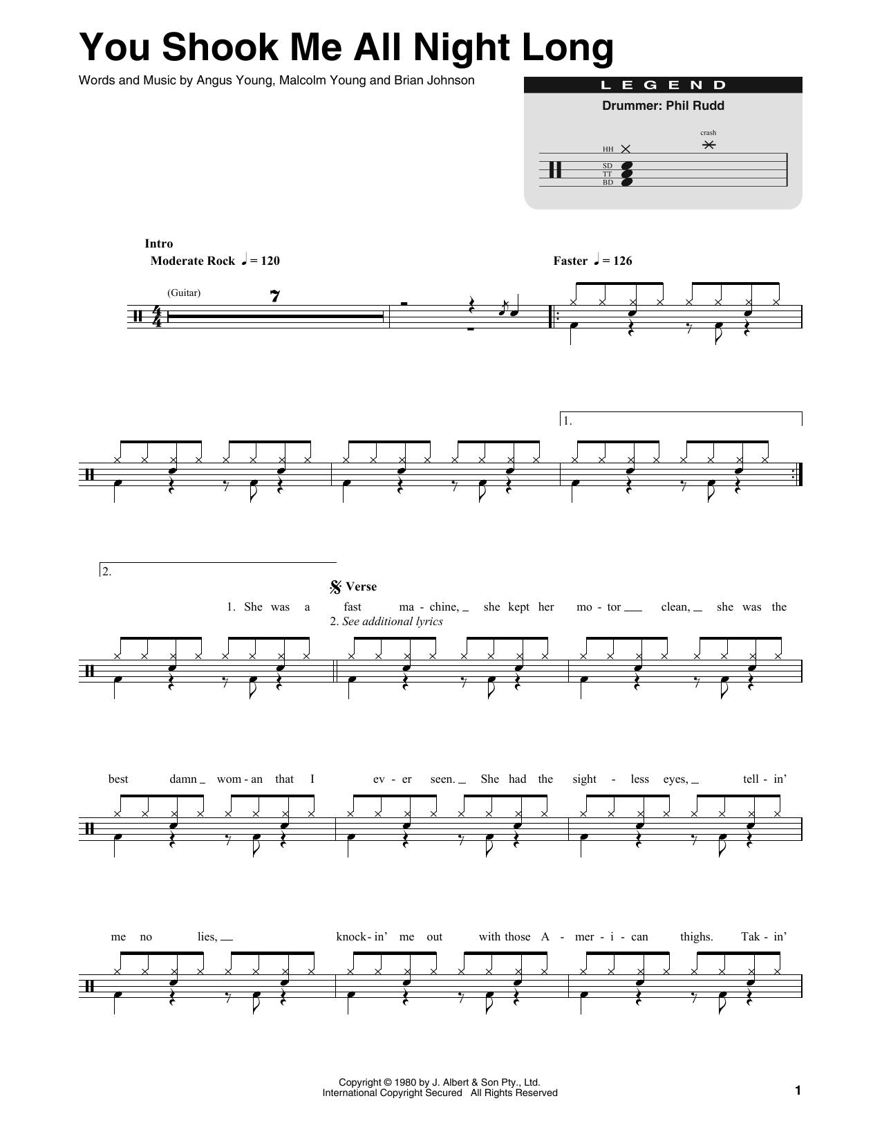 AC/DC 'You Shook Me All Night Long' Sheet Music Notes, Chords | Download  Printable Drums Transcription - SKU: 414587