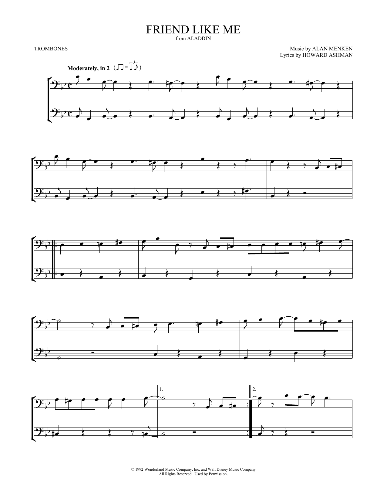 photo relating to Free Printable Trombone Sheet Music named Alan Menken Good friend Together with Me (versus Aladdin) Sheet Songs Notes, Chords  Down load Printable Trombone Duet - SKU: 414832