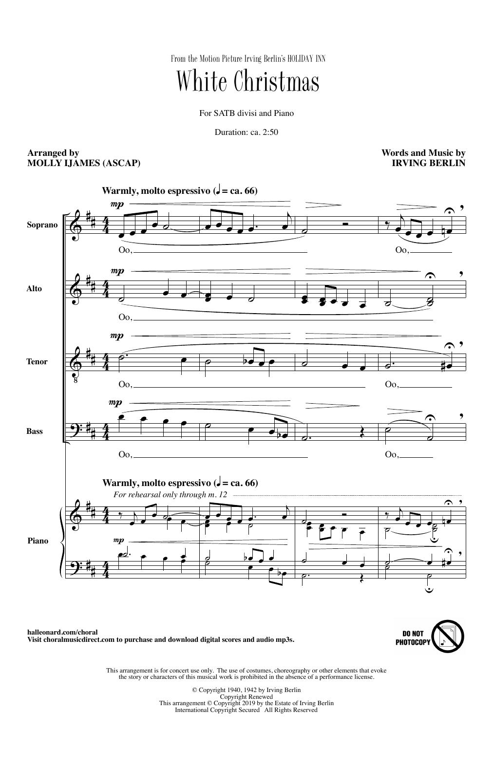 White Christmas Piano Sheet Music.Irving Berlin White Christmas From Holiday Inn Arr Molly Ijames Sheet Music Notes Chords Download Printable Satb Choir Sku 415710