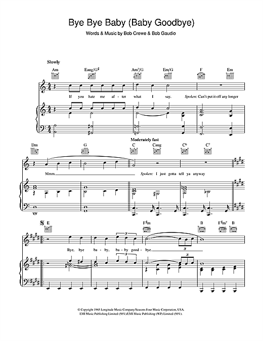Bay City Rollers Bye Bye Baby Baby Goodbye Sheet Music Notes Chords Download Printable Piano Vocal Guitar Right Hand Melody Sku 43257