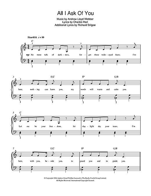 Andrew Lloyd Webber 'All I Ask Of You (from The Phantom Of The Opera)'  Sheet Music Notes, Chords | Download Printable Beginner Piano - SKU: 47042