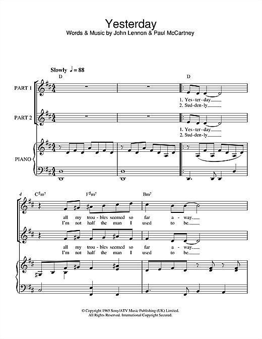 The Beatles Yesterday Sheet Music Notes Chords Download Printable 2 Part Choir Sku 47601
