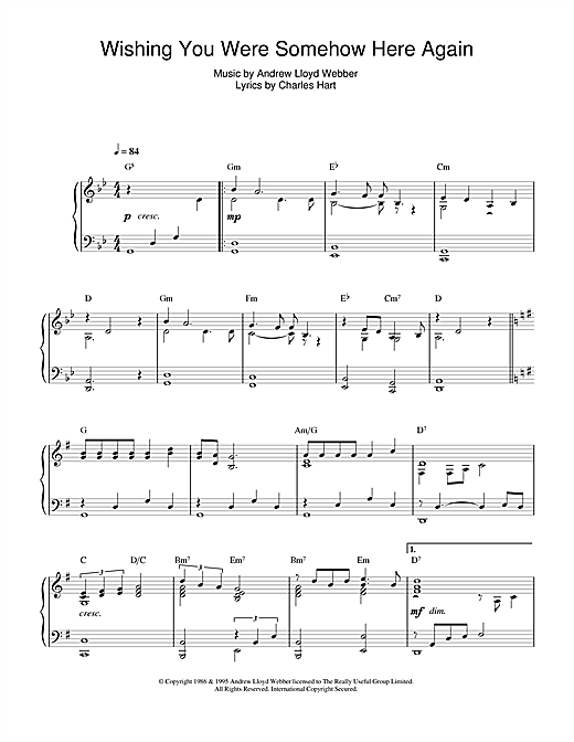 Andrew Lloyd Webber 'Wishing You Were Somehow Here Again (from The Phantom  Of The Opera)' Sheet Music Notes, Chords | Download Printable Piano - SKU: