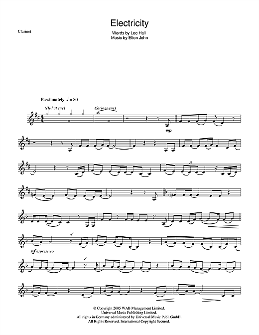 Elton John 'Electricity (from Billy Elliot: The Musical)' Sheet Music  Notes, Chords | Download Printable Clarinet - SKU: 48336