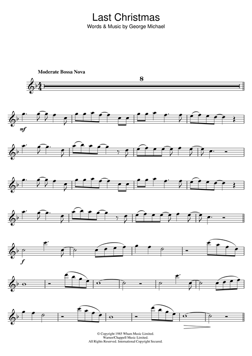 image relating to Free Printable Flute Sheet Music identified as Wham! Very last Xmas Sheet Audio Notes, Chords Down load Printable Flute - SKU: 48478