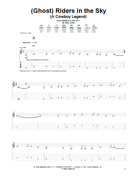 Dick Dale '(Ghost) Riders In The Sky (A Cowboy Legend)' Sheet Music Notes,  Chords   Download Printable Guitar Tab - SKU: 52090