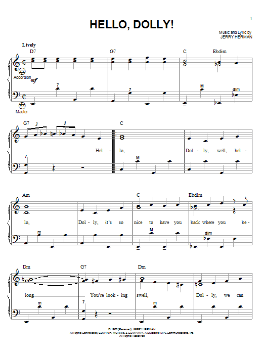 Louis Armstrong 'Hello, Dolly!' Sheet Music Notes, Chords | Download  Printable Accordion - SKU: 52158