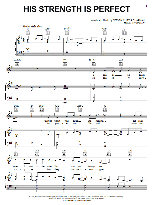 Steven Curtis Chapman 'His Strength Is Perfect' Sheet Music Notes, Chords |  Download Printable Piano, Vocal & Guitar (Right-Hand Melody) - SKU: 55672
