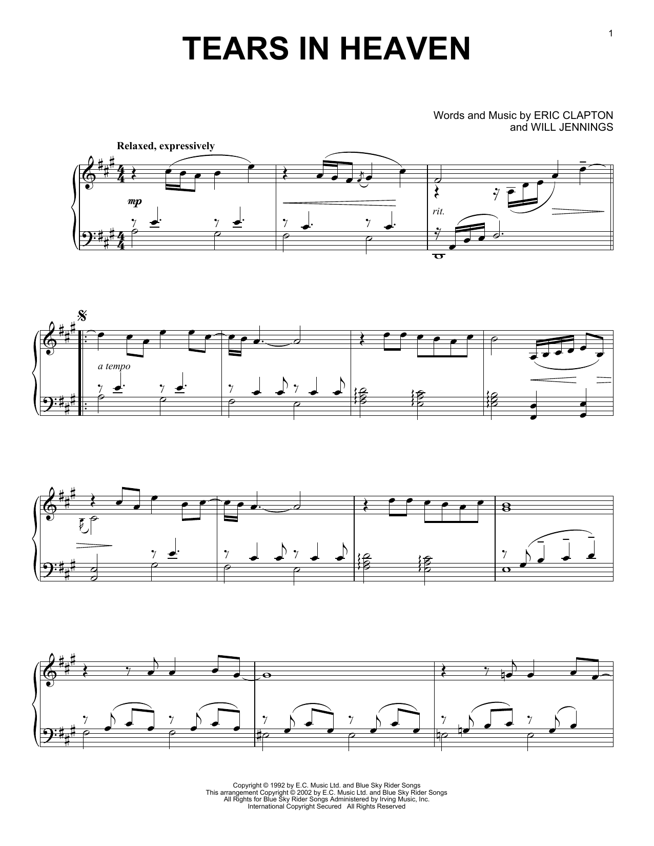 Eric Clapton 'Tears In Heaven' Sheet Music Notes, Chords | Download  Printable Piano - SKU: 59075