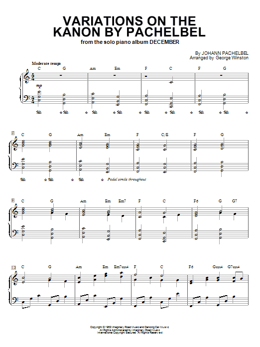 George Winston 'Variations On The Kanon By Pachelbel' Sheet Music Notes,  Chords | Download Printable Piano - SKU: 60140