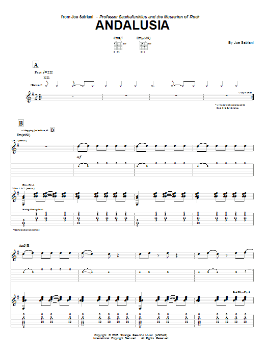 Joe Satriani 'Andalusia' Sheet Music Notes, Chords | Download Printable  Guitar Tab - SKU: 66675