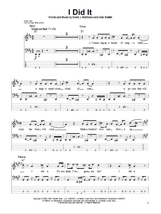 Dave Matthews Band 'I Did It' Sheet Music Notes, Chords | Download  Printable Bass Guitar Tab - SKU: 74836