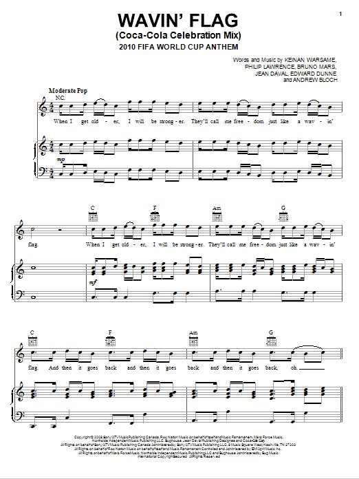 Knaan Wavin Flag Coca Cola Celebration Mix 2010 Fifa World Cup Anthem Sheet Music Notes Chords Download Printable Piano Vocal Guitar