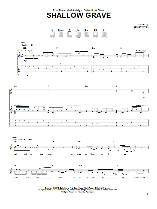Black Label Society 'Shallow Grave' Sheet Music Notes, Chords   Download  Printable Guitar Tab - SKU: 79925