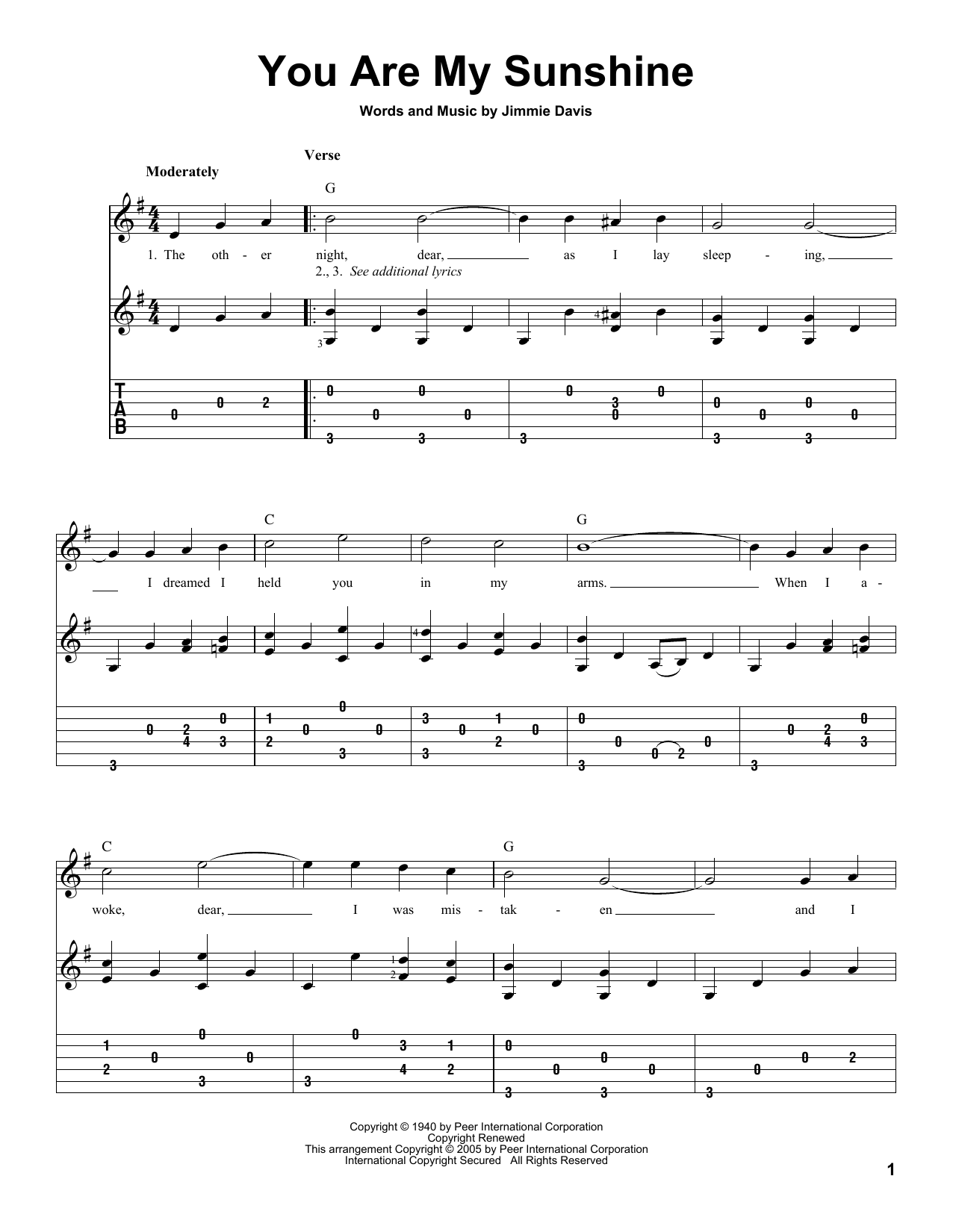 Jimmie Davis 'You Are My Sunshine' Sheet Music Notes, Chords | Download  Printable Guitar Tab - SKU: 83108