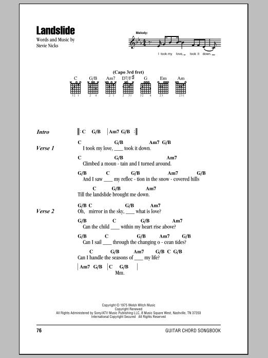 Fleetwood Mac 'Landslide' Sheet Music Notes, Chords | Download Printable  Lyrics & Chords - SKU: 85100