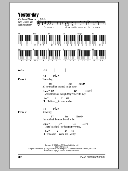 The Beatles Yesterday Sheet Music Notes Chords Download Printable Lyrics Piano Chords Sku 87572