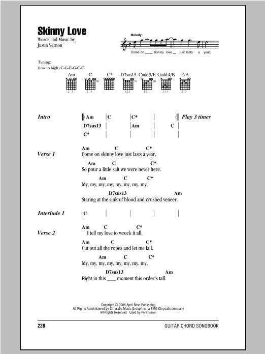 Bon Iver 'Skinny Love' Sheet Music Notes, Chords | Download Printable  Lyrics & Chords - SKU: 93659