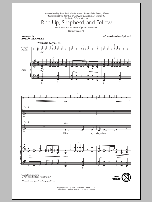 Traditional Spiritual 'Rise Up, Shepherd, And Follow (arr  Rollo Dilworth)'  Sheet Music Notes, Chords | Download Printable 2-Part Choir - SKU: 96515