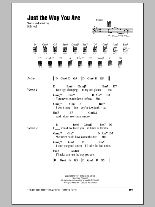 Billy Joel 'Just The Way You Are' Sheet Music Notes, Chords   Download  Printable Ukulele with strumming patterns - SKU: 99782