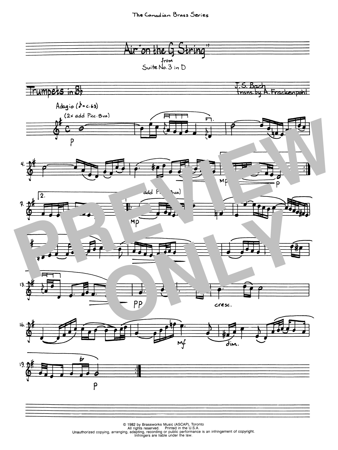 Download A. Frackenpohl Air On The G String - Bb Trumpet 1 (Brass Quintet) sheet music and printable PDF score & Classical music notes