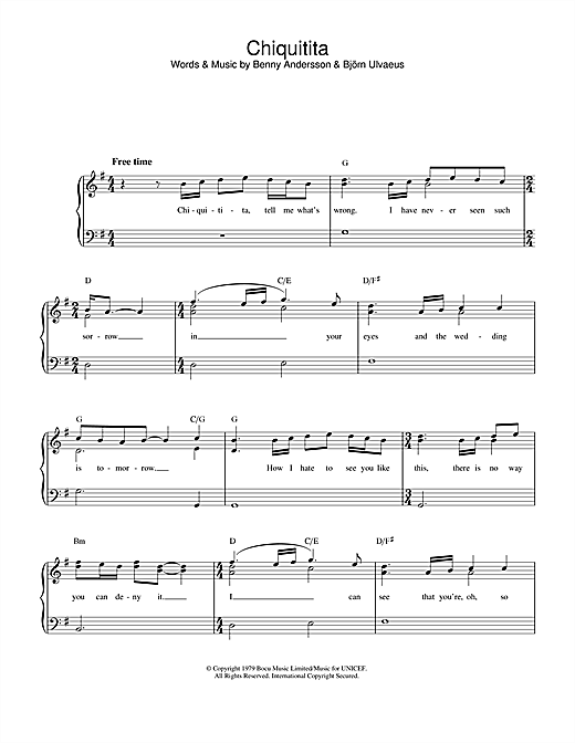 Download ABBA Chiquitita sheet music and printable PDF score & Pop music notes