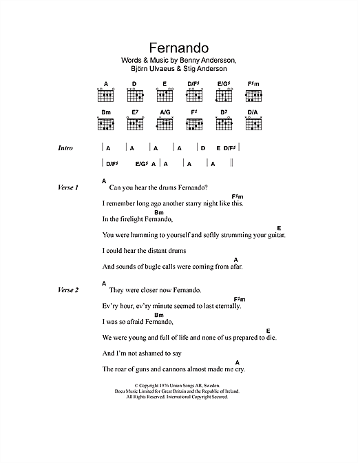 Download ABBA Fernando sheet music and printable PDF score & Pop music notes