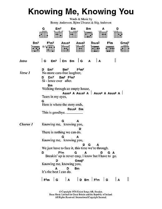 Download ABBA Knowing Me, Knowing You sheet music and printable PDF score & Pop music notes