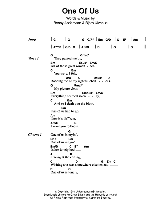 Download ABBA One Of Us sheet music and printable PDF score & Pop music notes