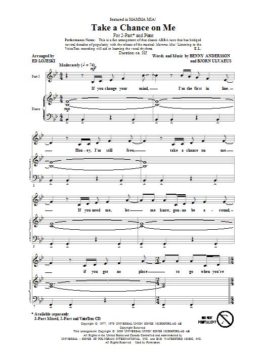 Download ABBA Take A Chance On Me (arr. Ed Lojeski) sheet music and printable PDF score & Broadway music notes