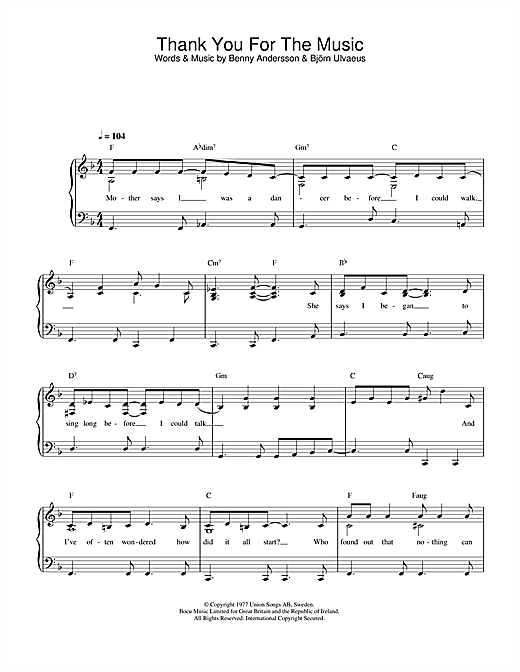 Download ABBA Thank You For The Music sheet music and printable PDF score & Pop music notes