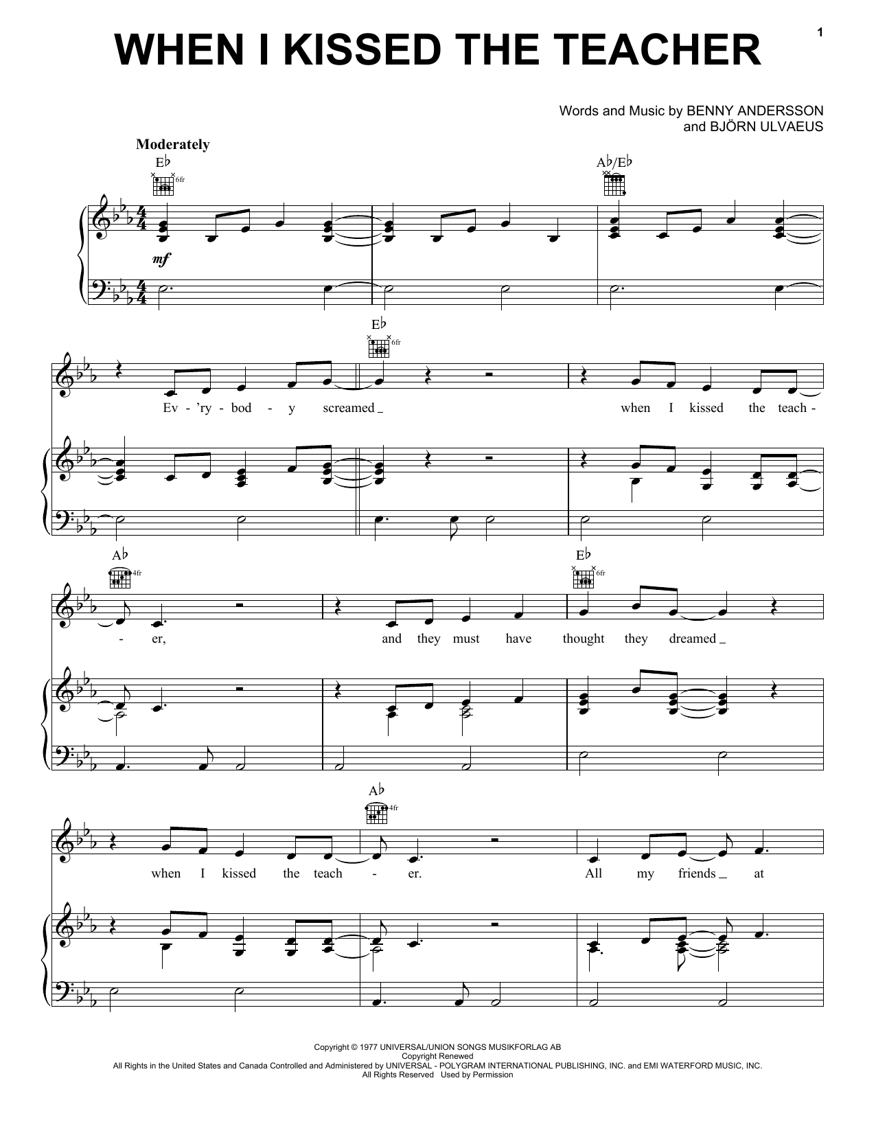 Abba When I Kissed The Teacher From Mamma Mia Here We Go Again Sheet Music Notes Chords Download Printable Piano Vocal Guitar Right Hand