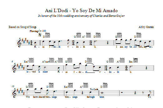 Download Abby Gostein Ani L'dodi sheet music and printable PDF score & Religious music notes