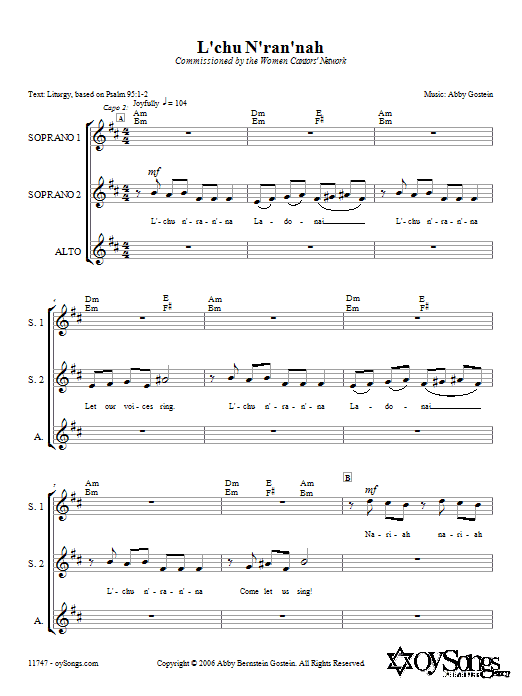 Download Abby Gostein L'chu N'ran'nah sheet music and printable PDF score & World music notes