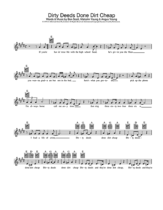 Download AC/DC Dirty Deeds Done Dirt Cheap sheet music and printable PDF score & Pop music notes