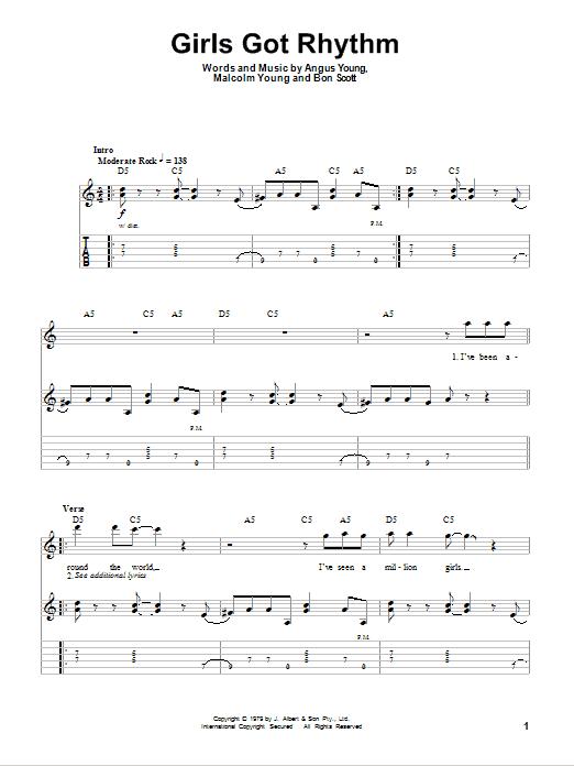 Download AC/DC Girls Got Rhythm sheet music and printable PDF score & Pop music notes