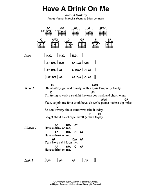 Download AC/DC Have A Drink On Me sheet music and printable PDF score & Pop music notes