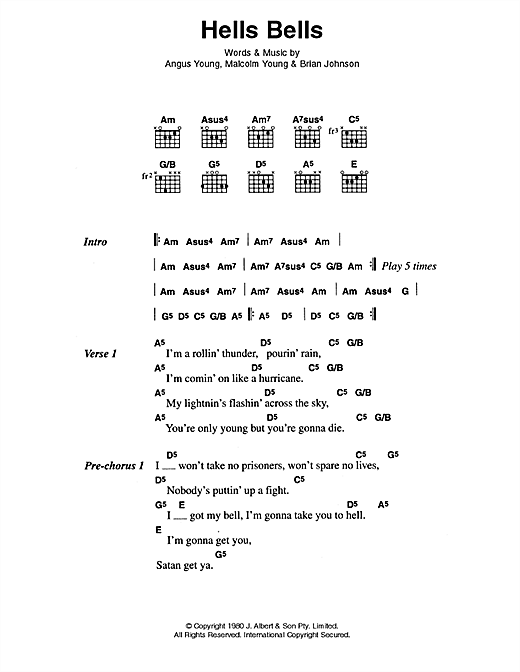Download AC/DC Hells Bells sheet music and printable PDF score & Pop music notes